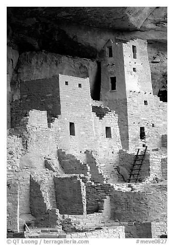 Square Tower in Cliff Palace. Mesa Verde National Park (black and white)
