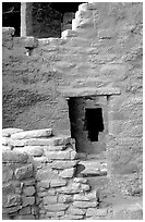 Windows in Spruce Tree House. Mesa Verde National Park ( black and white)