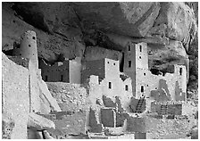 Ancestral pueblan dwellings in Cliff Palace. Mesa Verde National Park ( black and white)