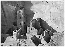 Square Tower house, late afternoon. Mesa Verde National Park ( black and white)