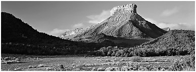 Lookout Peak and meadow. Mesa Verde National Park (Panoramic black and white)