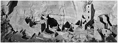 Square Tower House, tallest Ancestral pueblo ruin. Mesa Verde National Park (Panoramic black and white)