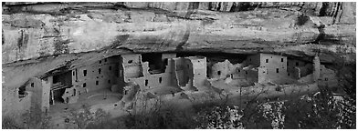 Spruce Tree House under rock overhang. Mesa Verde National Park (Panoramic black and white)