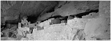 Cliff Palace, largest Anasazi cliff dwelling. Mesa Verde National Park (Panoramic black and white)