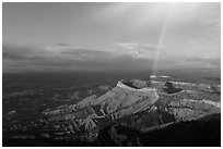 Rainbow over North Rim, sunset. Mesa Verde National Park, Colorado, USA. (black and white)