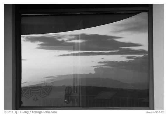 Mesa at sunset, Far View visitor center window reflexion. Mesa Verde National Park (black and white)