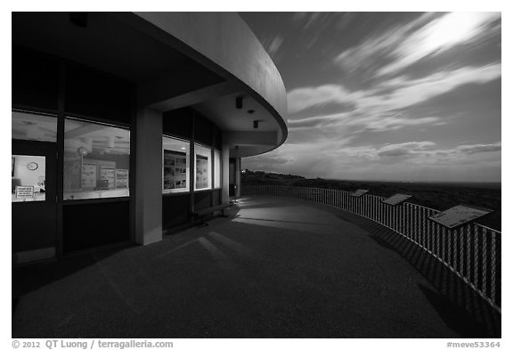 Far View visitor center terrace by moonlight. Mesa Verde National Park (black and white)