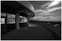 Far View visitor center terrace by moonlight. Mesa Verde National Park, Colorado, USA. (black and white)
