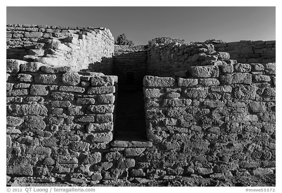 Far View House, early morning. Mesa Verde National Park (black and white)