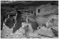 Walls in alcove, Mug House. Mesa Verde National Park ( black and white)