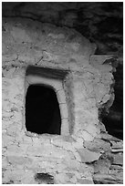 Window with original clay frame, Mug House. Mesa Verde National Park ( black and white)