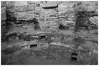 Kiva detail with multicolored original plaster. Mesa Verde National Park ( black and white)