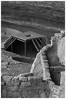 Masonery structure and pithouse, Step House, Wetherill Mesa. Mesa Verde National Park ( black and white)
