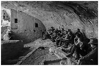 Ranger talks during guided tour of Long House. Mesa Verde National Park ( black and white)