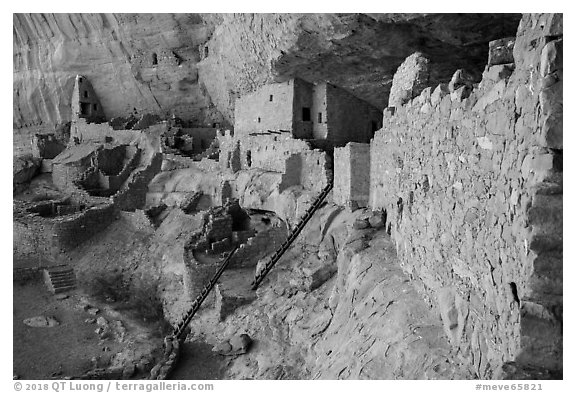 Long House, second largest Ancestral Pueblo cliff dwelling. Mesa Verde National Park (black and white)