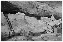 Visitor looking, Long House. Mesa Verde National Park ( black and white)