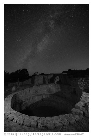 Kiva and Milky Way. Mesa Verde National Park (black and white)