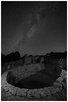 Kiva and Milky Way. Mesa Verde National Park ( black and white)