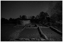Far View ruins at night. Mesa Verde National Park ( black and white)