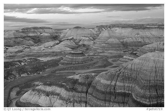 Multi-hued badlands of Blue Mesa, sunset. Petrified Forest National Park (black and white)