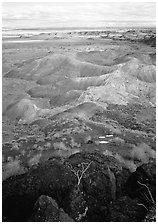 Mud, sandstone and volcanic ash color  painted desert, morning. Petrified Forest National Park ( black and white)