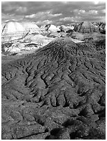 Bentonite and volcanic ash badlands in Blue Mesa, afternoon. Petrified Forest National Park, Arizona, USA. (black and white)