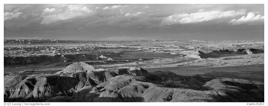 Evening on Painted Desert. Petrified Forest National Park (black and white)