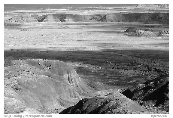 Painted desert seen from Chinde Point, morning. Petrified Forest National Park (black and white)