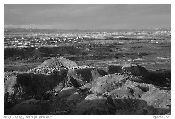 Multi-hued badlands of  Painted desert seen from Chinde Point. Petrified Forest National Park (black and white)