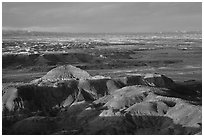 Multi-hued badlands of  Painted desert seen from Chinde Point. Petrified Forest National Park, Arizona, USA. (black and white)