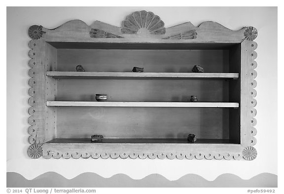 Shelf on dining room with American Indian designs, Painted Desert Inn. Petrified Forest National Park (black and white)