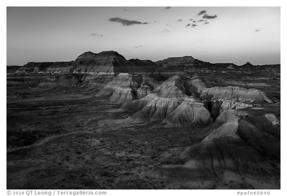 Puerco Ridge, sunset. Petrified Forest National Park (black and white)