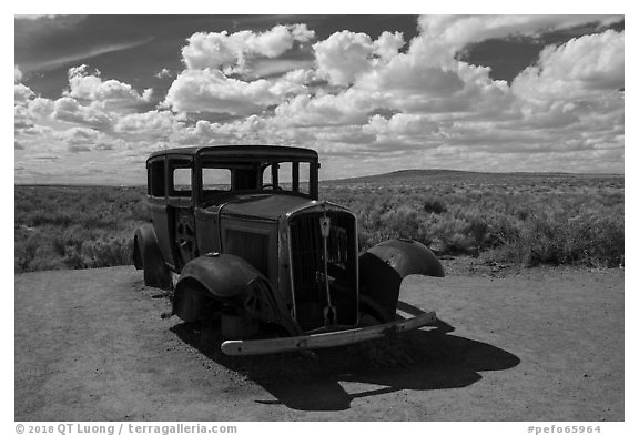 1932 Studebaker on historic Route 66. Petrified Forest National Park (black and white)
