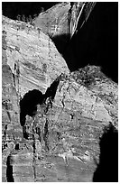 Rock walls near Hidden Canyon. Zion National Park ( black and white)
