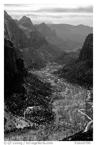 Zion Canyon from  summit of Angel's landing, mid-day. Zion National Park (black and white)