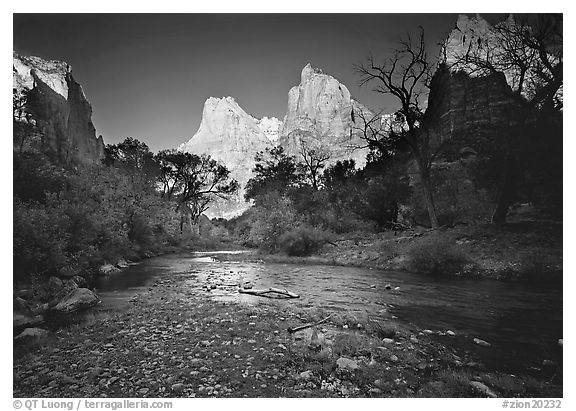 Virgin River and Court of the Patriarchs at sunrise. Zion National Park (black and white)