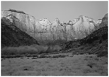 West temple view, sunrise. Zion National Park ( black and white)