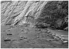 Mystery falls flowing into the Virgin River, the Narrows. Zion National Park ( black and white)