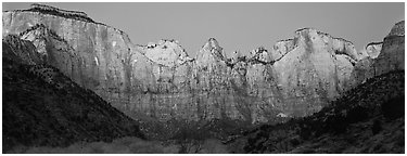 Towers of the Virgin cliffs at dawn. Zion National Park (Panoramic black and white)