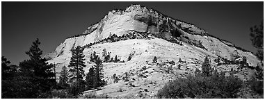 Sandstone bluff, Zion Plateau. Zion National Park (Panoramic black and white)