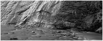 Wet gorge wall and Virgin River. Zion National Park (Panoramic black and white)