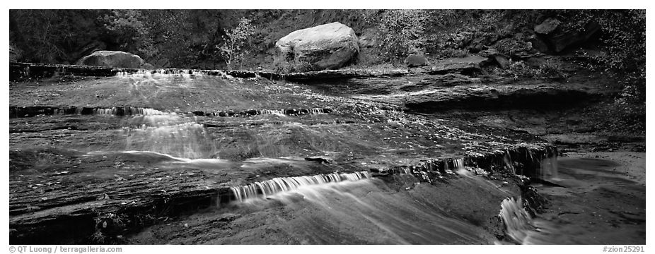 Red travertine terraces with cascades. Zion National Park (black and white)