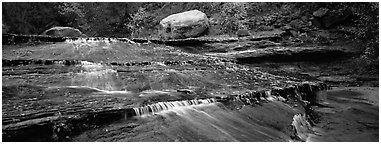 Red travertine terraces with cascades. Zion National Park (Panoramic black and white)