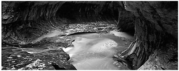The Subway in autumn. Zion National Park (Panoramic black and white)