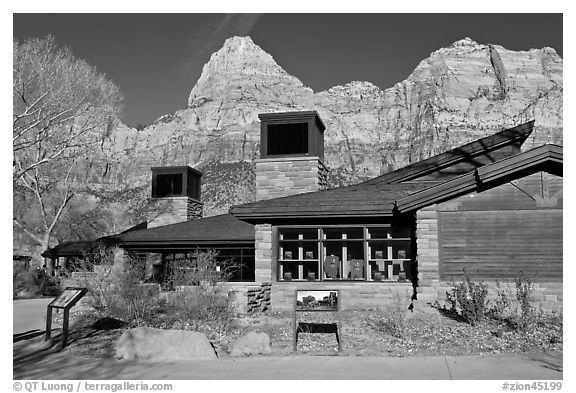 Zion Visitor Center. Zion National Park (black and white)
