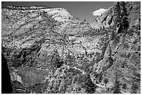 Distant hikers on Hidden Canyon trail. Zion National Park ( black and white)