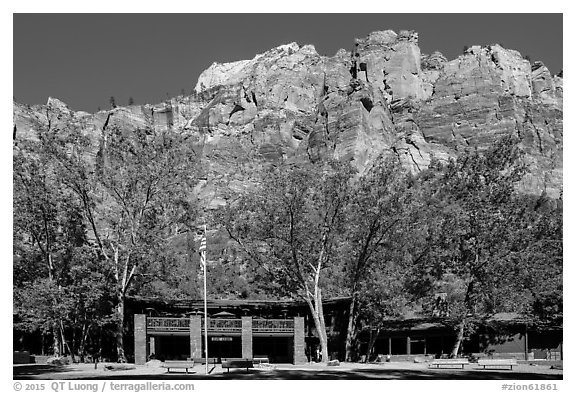 Zion lodge and cliffs. Zion National Park (black and white)