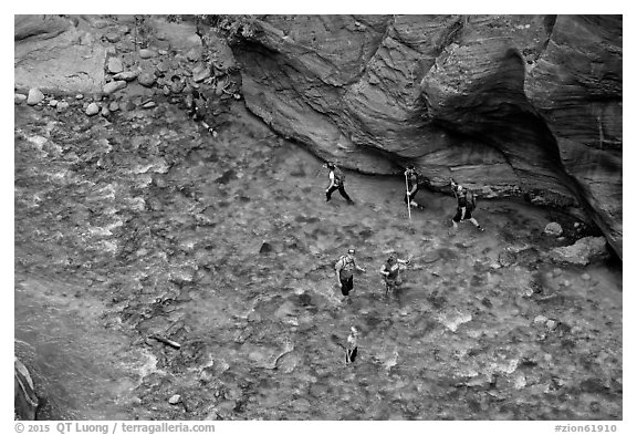 Virgin River Narrows hikers from above. Zion National Park (black and white)