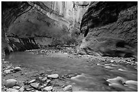 Virgin River and glowing alcove. Zion National Park ( black and white)
