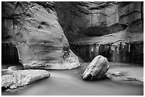 Boulders, Virgin River, and canyon walls, the Narrows. Zion National Park ( black and white)